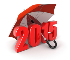 Year 2015 under umbrella (clipping path included)