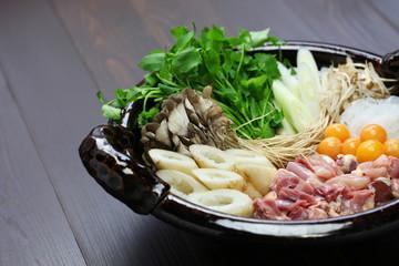 japanese chicken hot pot cuisine, kritanpo nabe with hinaizidori