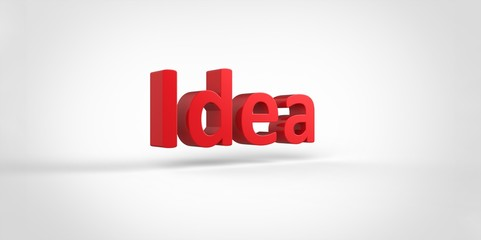 Idea 3D red text Illustration word Render