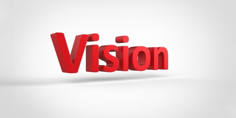 Vision 3D red text Illustration word Render