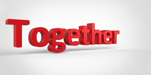 Together 3D red text Illustration word Render