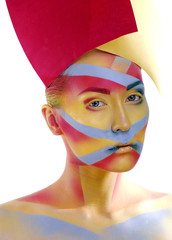 woman with creative geometry make up, tree color red, yellow,