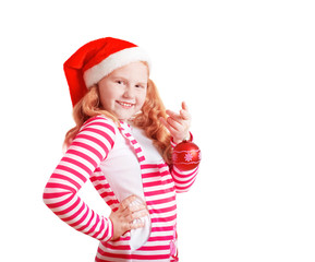 Happy girl dressed in Santa Claus hat