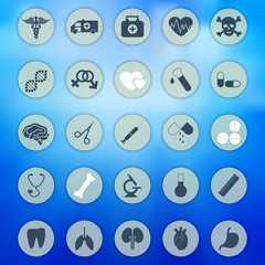 Medical icons set on a blurred background