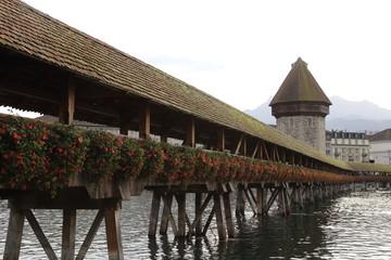old wooden chapel bridge in Lucerne Switzerland