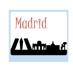 vector silhouette of madrid Spain