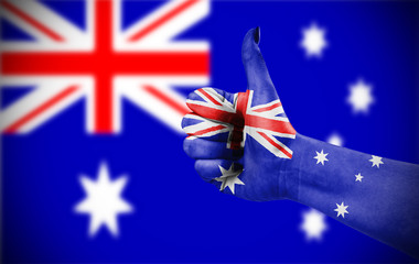 National flag of Australia on hand