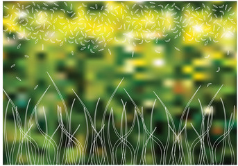 spring vector background with grass silhouettes on blurry backgr