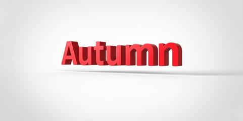 Autumn  3D text Illustration word Render