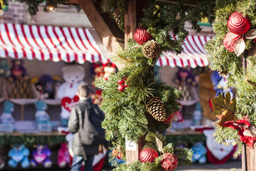 Christmas market with decorations in London