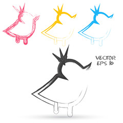 Vector sketch style of twitter bird icons.
