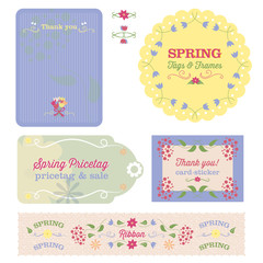 Spring Floral Tags, Sticker and Cards