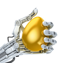 Robot hand holding a golden Easter egg. Conceptual illustration