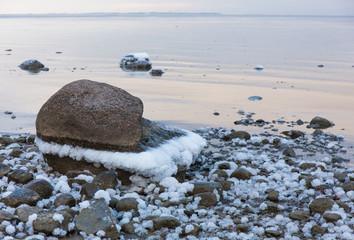 sea stones in the snow