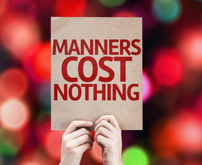 Manners Cost Nothing card with colorful background