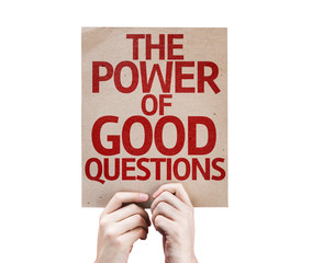 The Power Of Good Questions card isolated on white