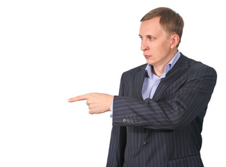 business man pointing  his finger