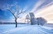 Leinwanddruck Bild - Snowy alley in the winter