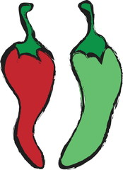 cartoon  red and green pepper