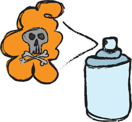 cartoon dangerous blank spray