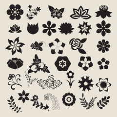 Floral Symbols  icon set Vector Flower Set