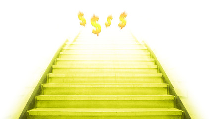 stairway going up to the money,isolate background