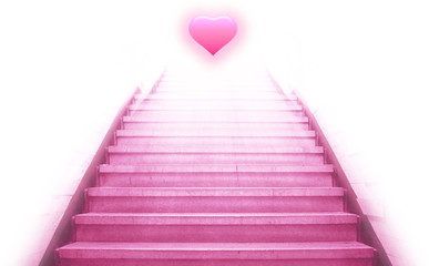 stairway going up to the heart,isolate background
