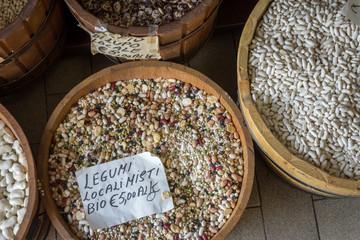 Organic beans at Italian market