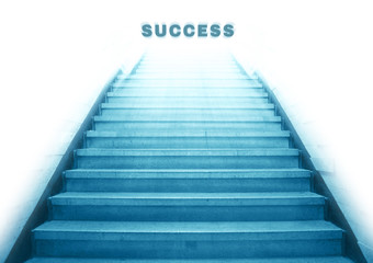 stairway going up to success text,isolate background