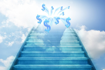 stairway going up to the money,sky background