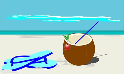 coconut on white sand beach