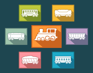 colorful rail road icons set