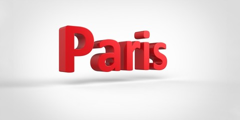 Paris 3D text Illustration of City Name