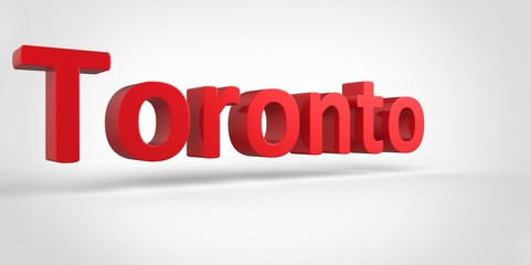 Toronto 3D text Illustration of City Name