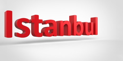 Istanbul 3D text Illustration of City Name