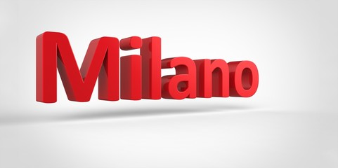Milano 3D text Illustration of City Name
