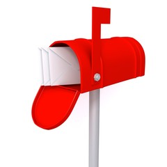Red mailbox with envelopes