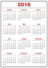 Simple Calendar for the year 2016 on a white background