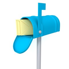 Blue mailbox with envelopes