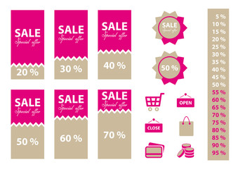 Sale labels set with shopping icons. Pink color.