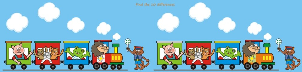 Train, find the ten differences