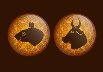 Horoscope, rat, Bull, mouse. Golden background.