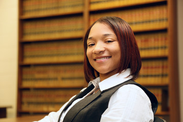 Young Women Lawyer in Law Library