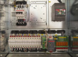 Electrical cubicle with components and wires closeup - 74592667