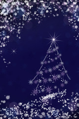 Christmas tree in the night sky background