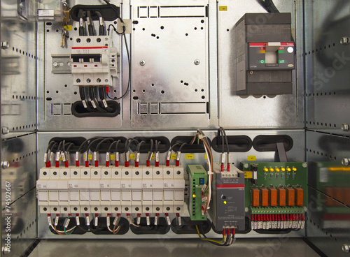 Electrical cubicle with components and wires closeup