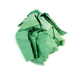 Green garbage paper wasted idea crumpled