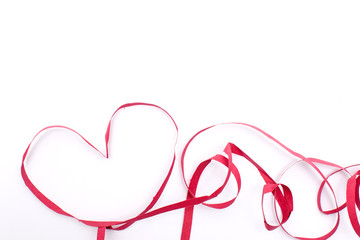 Heart made with red bow
