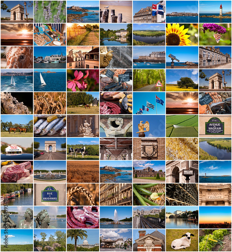 canvas print picture Collection of France images collage