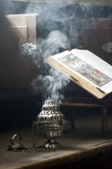 smoke from incense at Christian church